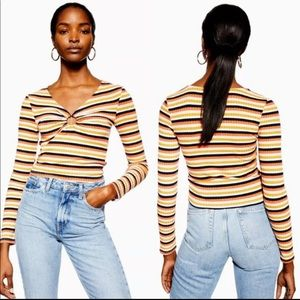 Topshop Hoop Ribbed Striped Top Sz 12